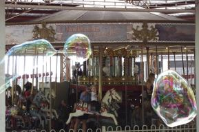 bubbles by the merry-go-round