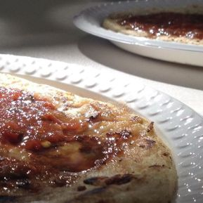 pupusa with chilli sauce